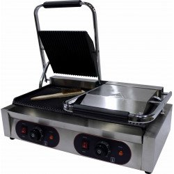 Grill panini double rainurée - surface : L 480 x P 230 mm - inox EQUIPEMENT DIRECT Paninis