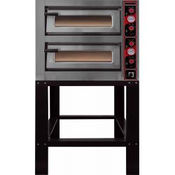 Four électrique 2 x 4 pizza Ø 300 mm 10000 W - 2 chambres : L 620 x P 620 x H 150 mm - inox EQUIPEMENT DIRECT Fours à pizzas