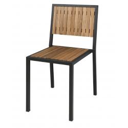 Lot de 4 chaises empilables , (H)assise 450 mm, en acier / acacia, Bolero BOLERO Chaises