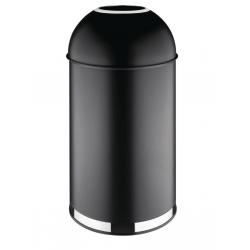 Poubelle dôme 40L ouverte en acier, noire BOLERO Poubelles
