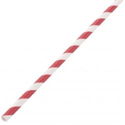 Lot de 250 pailles L 210 mm, en papier rayées rouge & blanc EQUIPEMENT DIRECT Produits jetables écologiques
