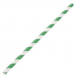 Lot de 250 pailles L 210 mm, en papier rayées vert & blanc EQUIPEMENT DIRECT Produits jetables écologiques