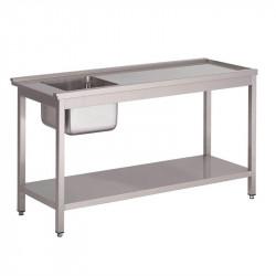 Table de prélavage L 1200 x P 590 x H 850 mm, évier à gauche, pour 'GL896', GASTRO M GASTRO M Tables inox