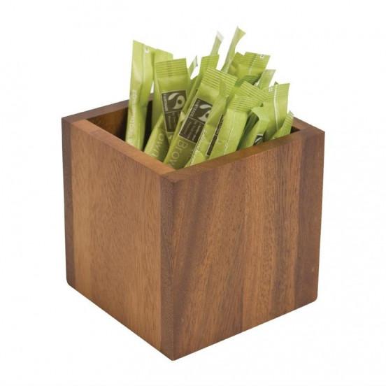 Boîte à sachets carrée H 100 x L 100 x P 100 mm - acacia T&G WOODWARE Plats et présentoirs