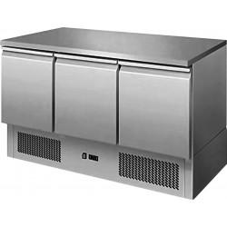 Desserte centrale 368 litres réfrigérée, 3 portes GN 1/1 + plan de travail en inox L2G Tables et soubassements
