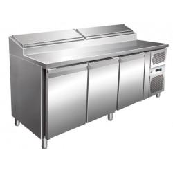 Table réfrigérée 580 litres, 3 portes 600 x 400 mm L2G Comptoirs de préparation