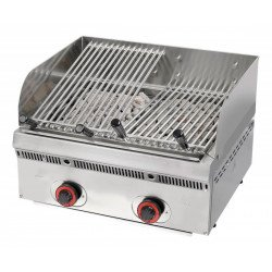 Grill à gaz, surface de cuisson : 540 x 490 mm - grilles inclinables Sofraca Grills - Charcoals