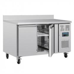Table réfrigérée 282 litres positive GN - 2 portes P 700 mm avec dosseret POLAR Tables et soubassements