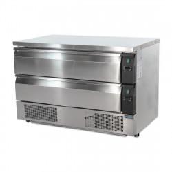 Soubassement double réfrigération 2 tiroirs, 6x GN 1/1 POLAR Tables et soubassements