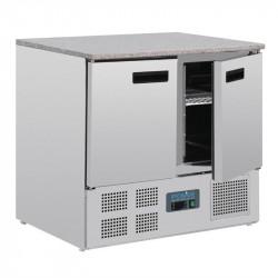 Table réfrigérée positive 6 x GN 1/1, 2 portes + plan de travail en marbre POLAR Tables et soubassements