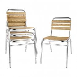 Lot de 4 Chaises bistro frêne et aluminium, Bolero BOLERO Chaises