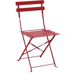 Lot de 2 Chaises de terrasse en acier, rouge, Bolero BOLERO Chaises