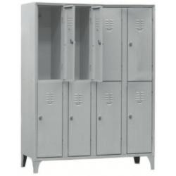 Armoire/Vestiaires 4 colonnes, 8 casiers, acier EQUIPEMENT DIRECT Casiers / Vestiaires