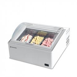 Comptoir glacier réfrigéré, 3 à 6 bacs, à poser, inox TECFRIGO Vitrines réfrigérées à poser