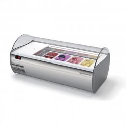 Comptoir à glaces réfrigéré, 4 à 8 bacs, inox  Vitrines réfrigérées à poser