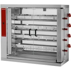 Rôtissoire à gaz L 1098 x P 480 x H 1000 mm - 4 broches 900 mm - 24 volailles - inox