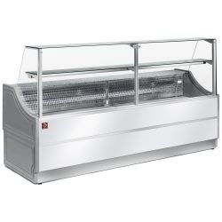 Comptoir vitrine réfrigérée - vitre droite 90° + réserve - Blanche