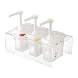 Lot de 3 distributeurs de sauce GN 1/9 transparents 1,5L ARAVEN Distributeurs de sauce