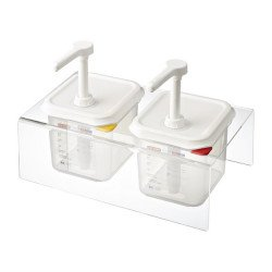 Lot de 2 distributeurs de sauce GN 1/6 transparents 2.6L ARAVEN Distributeurs de sauce