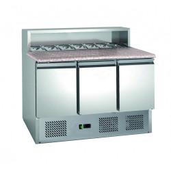 Table réfrigérée 3 portes GN 1/1 - 8 x GN 1/6 + plan de travail en granit L2G Comptoirs de préparation