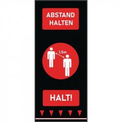 Tapis de distanciation sociale (L) 1500 x (P) 650 mm rouge, personnes, texte allemand COBA Signalétique
