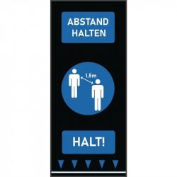 Tapis de distanciation sociale (L) 1500 x (P) 650 mm bleu, personnes, texte allemand COBA Signalétique