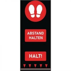 Tapis de distanciation sociale (L) 1500 x (P) 650 mm rouge, empreintes de pas, texte allemand COBA Signalétique