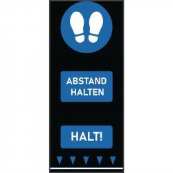 Tapis de distanciation sociale (L) 1500 x (P) 650 mm bleu, empreintes de pas, texte allemand COBA Signalétique
