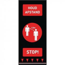 Tapis de distanciation sociale (L) 1500 x (P) 650 mm rouge, personnes, texte néerlandais COBA Signalétique