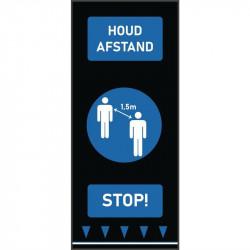 Tapis de distanciation sociale (L) 1500 x (P) 650 mm bleu, personnes, texte néerlandais COBA Signalétique