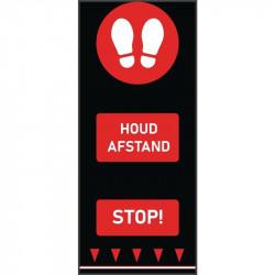 Tapis de distanciation sociale (L) 1500 x (P) 650 mm rouge, empreintes de pas, texte néerlandais COBA Signalétique