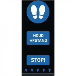 Tapis de distanciation sociale (L) 1500 x (P) 650 mm bleu, empreintes de pas, texte néerlandais COBA Signalétique