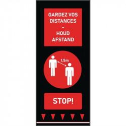 Tapis de distanciation sociale (L) 1500 x (P) 650 mm rouge, personnes, texte français & néerlandais COBA Signalétique