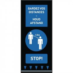 Tapis de distanciation sociale (L) 1500 x (P) 650 mm bleu, personnes, texte français & néerlandais COBA Signalétique