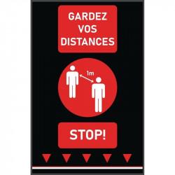 Tapis de distanciation sociale (L) 1000 x (P) 650 mm rouge, personnes, texte français COBA Signalétique
