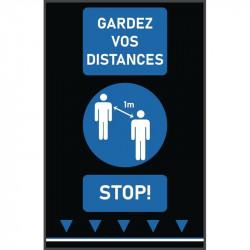 Tapis de distanciation sociale (L) 1000 x (P) 650 mm bleu, personnes, texte français COBA Signalétique