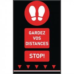 Tapis de distanciation sociale (L) 1000 x (P) 650 mm rouge, empreintes de pas, texte français COBA Signalétique