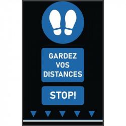 Tapis de distanciation sociale (L) 1000 x (P) 650 mm bleu, empreintes de pas, texte français COBA Signalétique