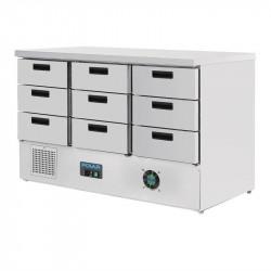 Table réfrigérée 368 Litres positive 9 tiroirs, Polar série G POLAR Tables et soubassements