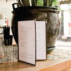 Porte-menu transparent cristal A4 double (4 pages) (par 3) SECURIT Cartes et menus