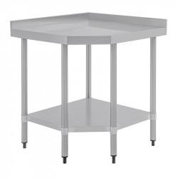 Table inox / meuble de coin, (H) 960 x (L) 800 x (P) 600 mm, avec dosseret, Vogue