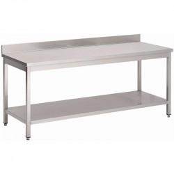 Table P 700 x H 850 mm, avec dosseret, avec étagère basse, inox GASTRO M Tables inox