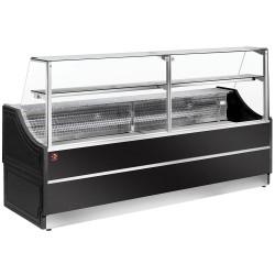 Comptoir vitrine réfrigérée - vitre droite 90° + réserve - Noir DIAMOND Vitrines Horizontales