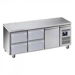 Desserte 465 litres réfrigérée, 1 porte GN 1/1 + 4 tiroirs , sur roulettes L2G Tables et soubassements