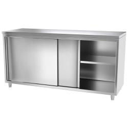 Armoire de travail inox 1,8 m - avec portes coulissantes EQUIPEMENT DIRECT Tables sur placard