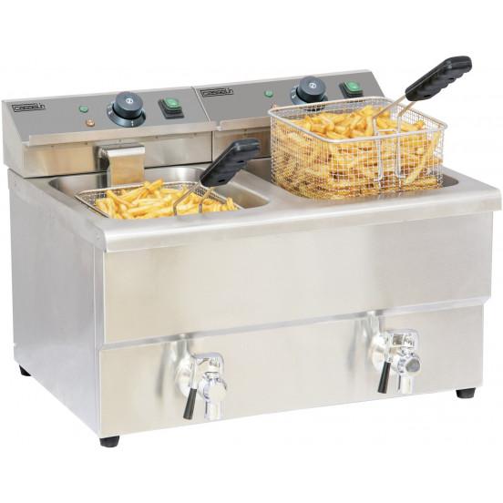 Friteuse électrique 2 x 8 litres avec vanne de vidange CASSELIN Friteuses à poser