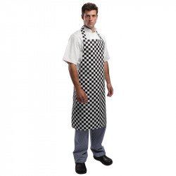 Tablier bavette carreaux noirs & blancs WHITES CHEFS APPAREL Tabliers