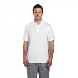 Polo 65% polyester & 35% coton blanc S EQUIPEMENT DIRECT Nisbets Vêtements