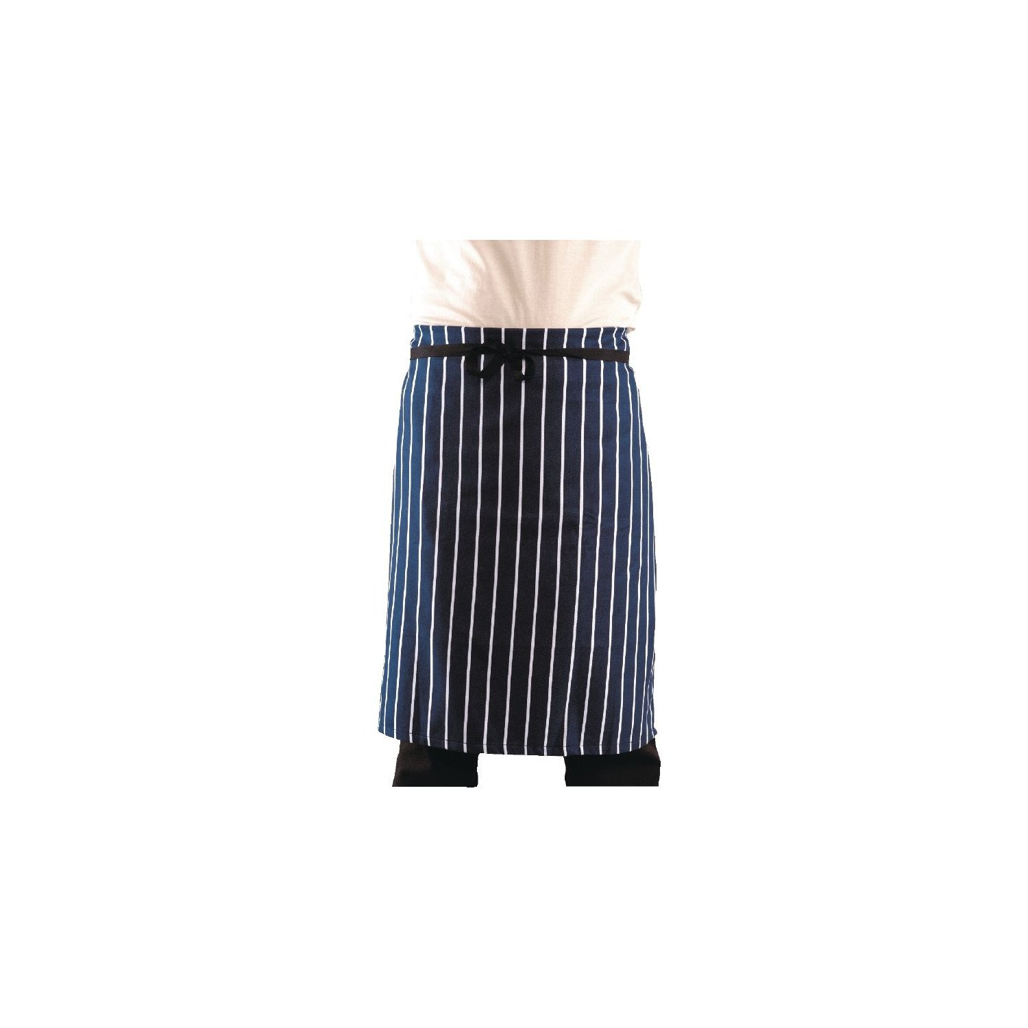 Tablier de serveur rayé teint en fil XL WHITES CHEFS APPAREL Tabliers