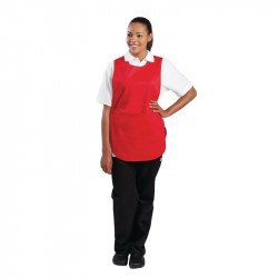 Tablier chasuble avec poche Rouge - Taille L WHITES CHEFS APPAREL Tabliers